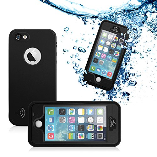 GEARONIC TM New 2016 Durable Waterproof Shockproof Snow DirtProof Fingerprint Scanner Full Case Cover For Apple iPhone SE 5 5S - Black