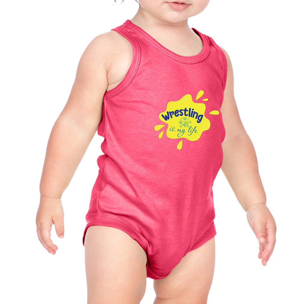 Wrestling is My Life Sport Combed Ring-Spun Cotton 3/8 Neck Band Unisex Infant Bodysuit One Piece - Hot Pink, 12 Months by Cute Rascals