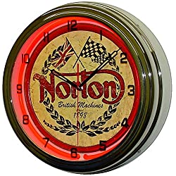 NORTON British Machines Motorcycles 15 Red Neon Lighted Wall Clock Mancave Garage Racing