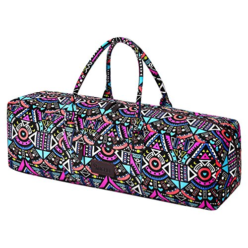 MiChef Yoga Mat Bag – Patterned Canvas Duffle Bag with Zipper and Pocket (Geometry)