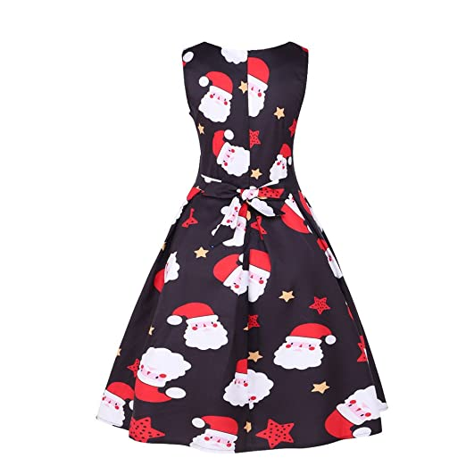 Women Dresses Godathe Womens Vintage Santa Christmas 1950s Retro Xmas Evening Prom Swing Dress S-