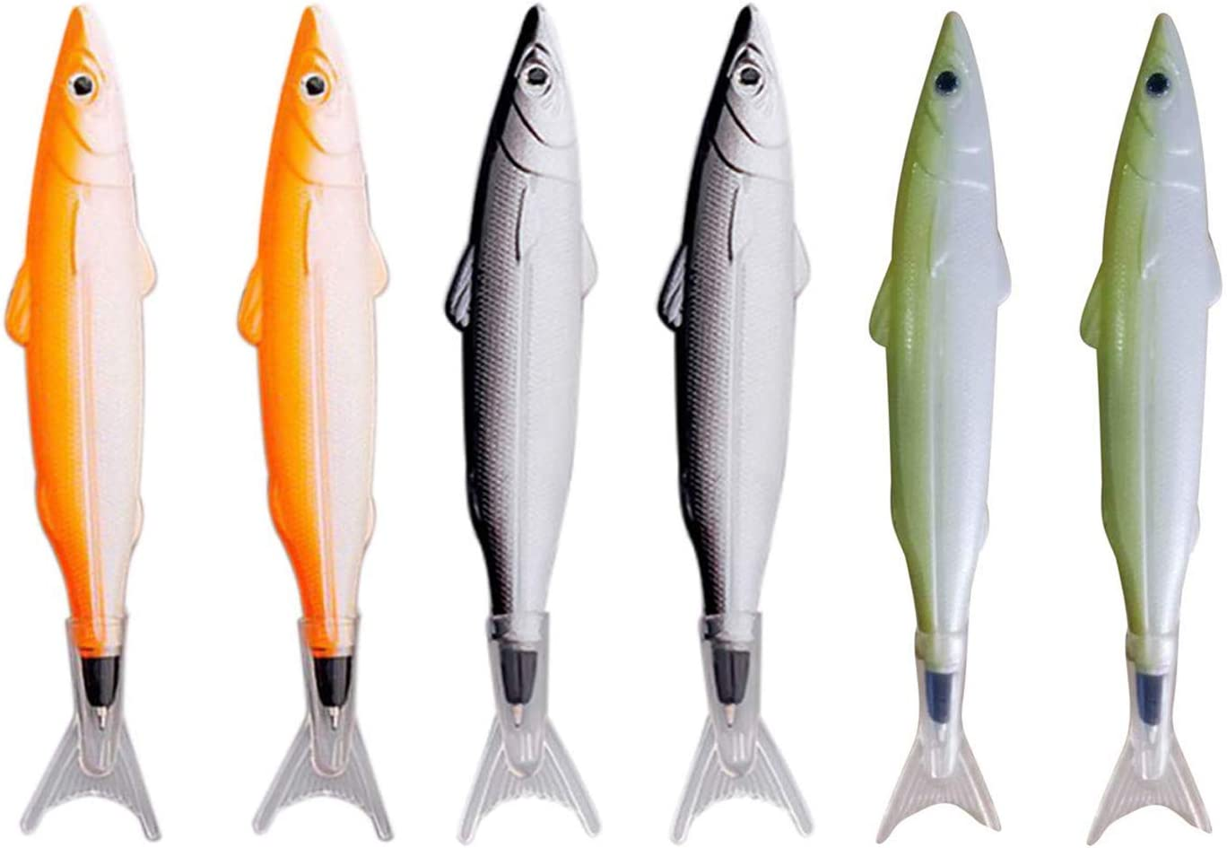 Maydahui 6PCS Fish Ballpoint Pen Creative Novelty Design Simulation Model Black ink Smooth Writting for School Kids Office Girls and Fishing Enthusiast