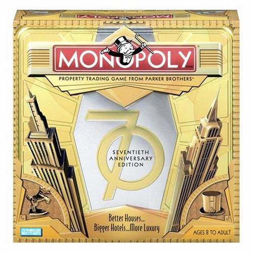 Anniversary Collectors Edition Monopoly - Hasbro Monopoly Game 70th Anniversary Edition