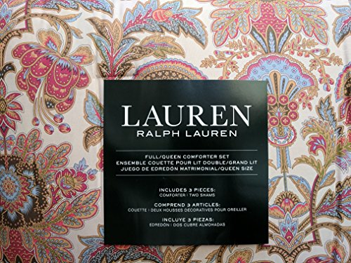 Lauren Ralph Lauren Jacobean Flower Chapman Floral Berry Red Gold Blue 3 Pieces Comforter Bedding Set, Queen ()