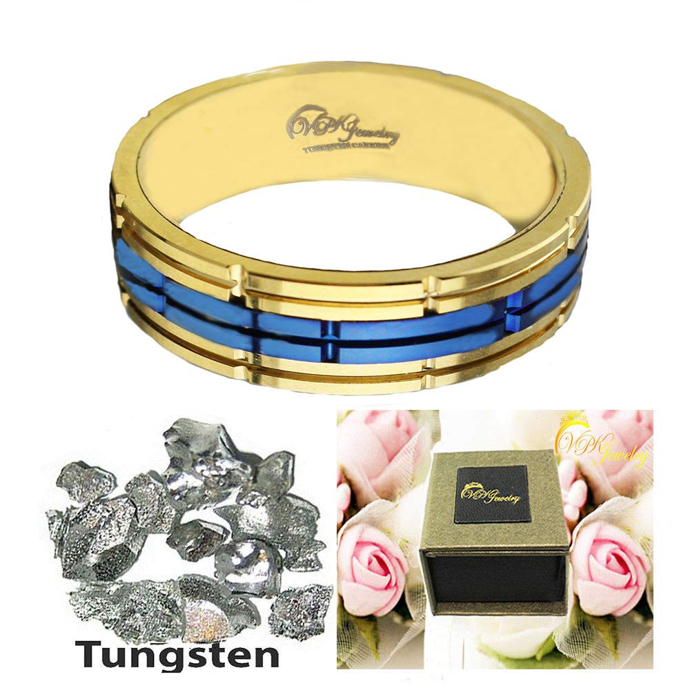 VPKJewelry Tungsten Ring Men Wedding Band Engagement Comfort Fit Rose Gold Blue 3 Pieces Construction 8 mm sz 10