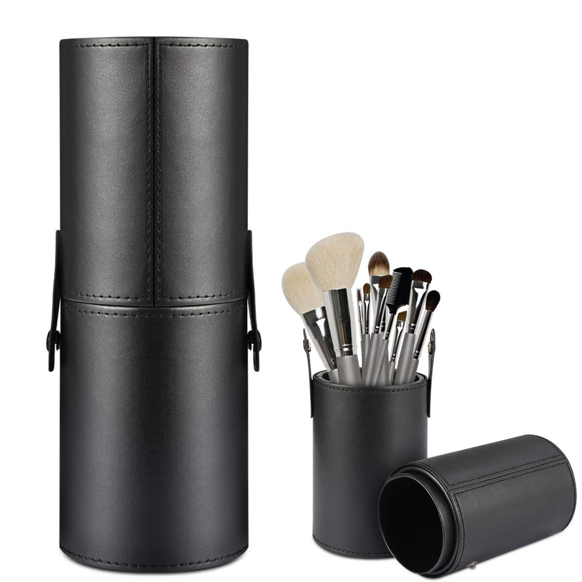 LanMa Makeup Brush Holder,Large Vegan Leather Cylinder Box Bags for Portable Cosmetic Makeup Case Storage Makeup Bags for Traveling or Bedroom Vanity(PU Black)