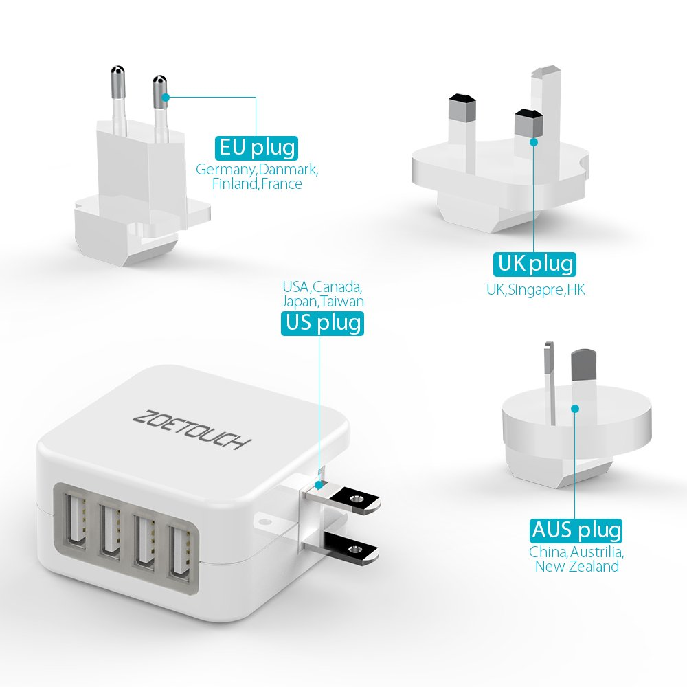 Adaptador Enchufe De Viaje Universal Enchufe Adaptador Internacional con 4 Puertos USB para US UK EU AUS Acerca De 150 Pa/íses para iPad Samsung Tel/éfonos Inteligentes Negro iPhone
