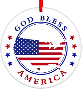 SICOHOME God Bless America Christmas Ornament