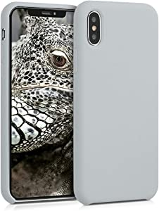 kwmobile TPU Silicone Case Compatible with Apple iPhone X - Soft Flexible Rubber Protective Cover - Light Grey Matte