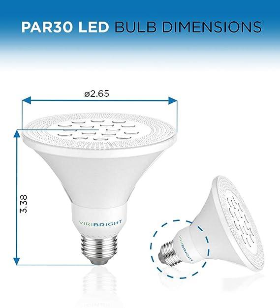 Viribright 9W PAR30 LED Bulb Light, 75W Equivalent, 800 Lumens, Soft White 2700K, E27 Base, 60°Beam Angle Spotlight, for Indoor 3 Pack - - Amazon.com
