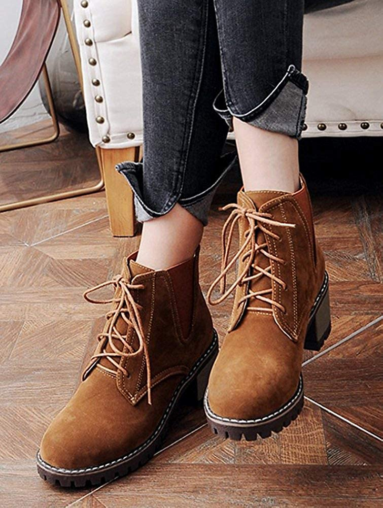 Unm Womens Casual Comfy Lace Up Round Toe Booties Mid Stacked Heel Ankle High Boots