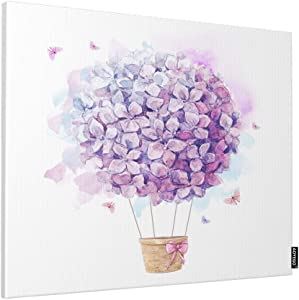 AOYEGO Floral Wall Decor Hot Balloon with Hydrangeas Lilac Flower Bow Tie Butterfly Art Paint Home Canvas Print Pictures Artwork for Bedroom Living Room 20x16 Inch Purple
