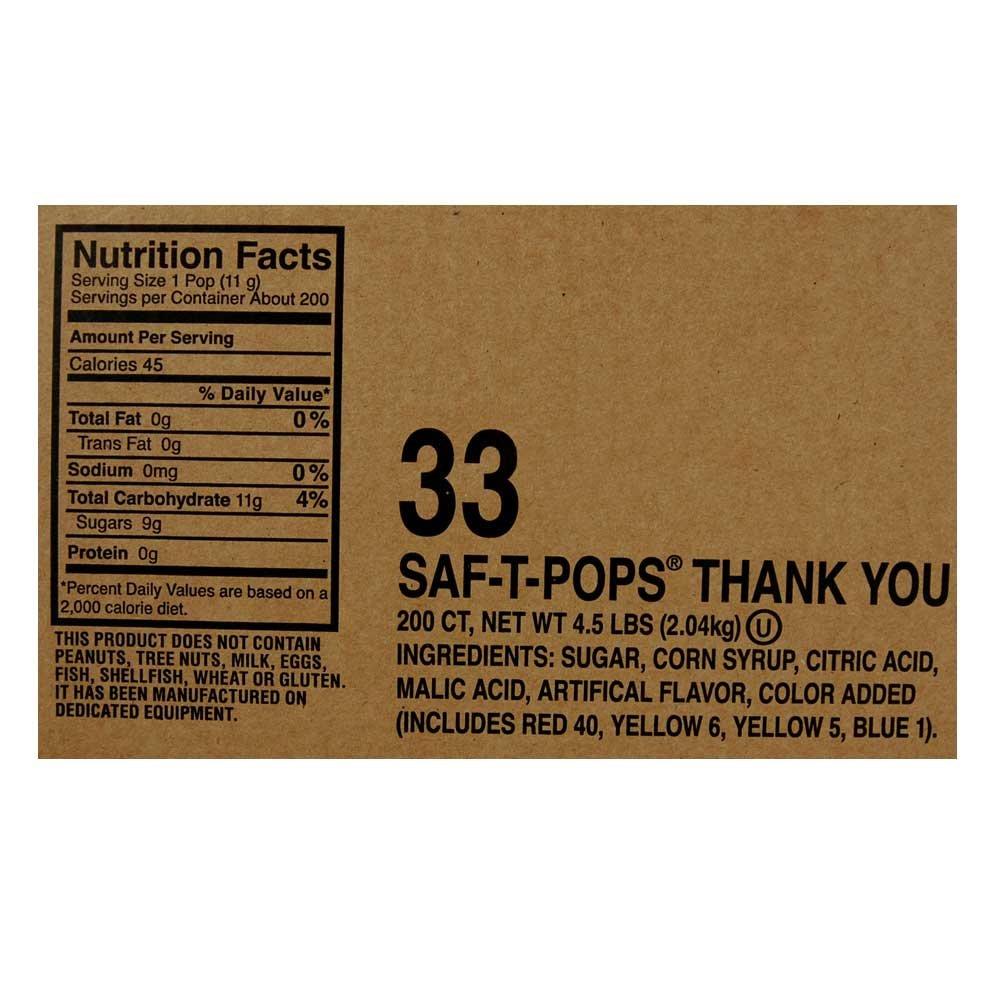Saf-T-Pops Thank You Lollipops, 200-Count