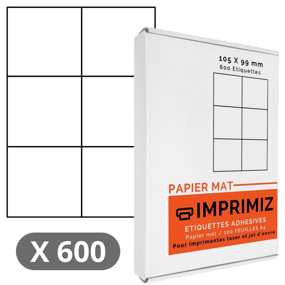 Confezione da 600 etichette autoadesive, 99 x 105 mm, bianco opaco, per stampanti Laser e getto d'inchiostro, 100 fogli, formato A4 Imprimiz