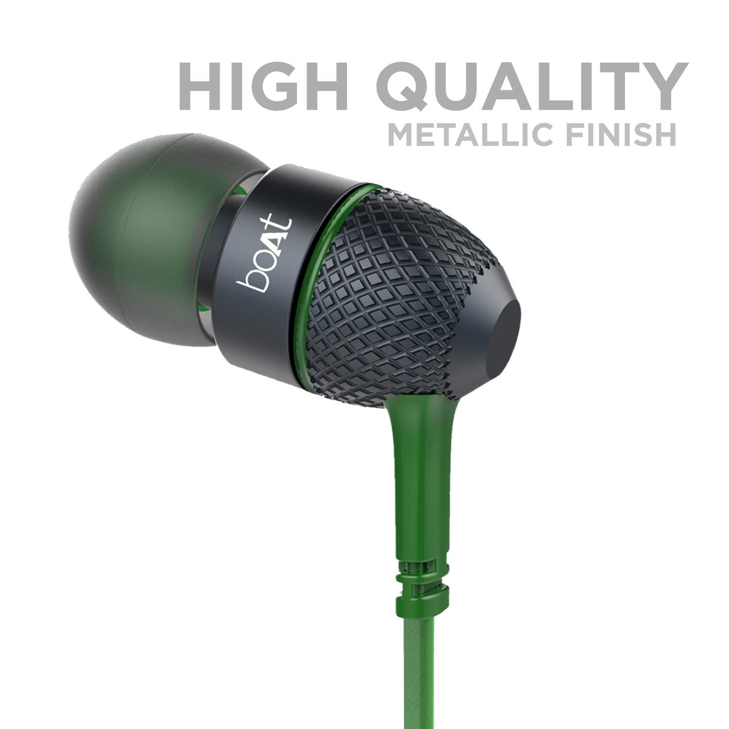 boAt BassHeads 225 in-Ear Wired Earphones with Super Extra Bass, Metallic Finish, Tangle-Free Cable and Gold Plated Angled Jack (Forrest Green)