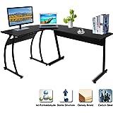 Corner Computer Desk CRAZYLYNX L-Shaped Office Desk Large PC Laptop Desk Computer Workstation for Home Office - Black