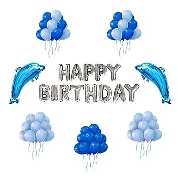 Globos para Cumpleaños Fiesta IvyLife Globos Azules de Decoración para Fiesta Cumpleaños con Globo de Delfines