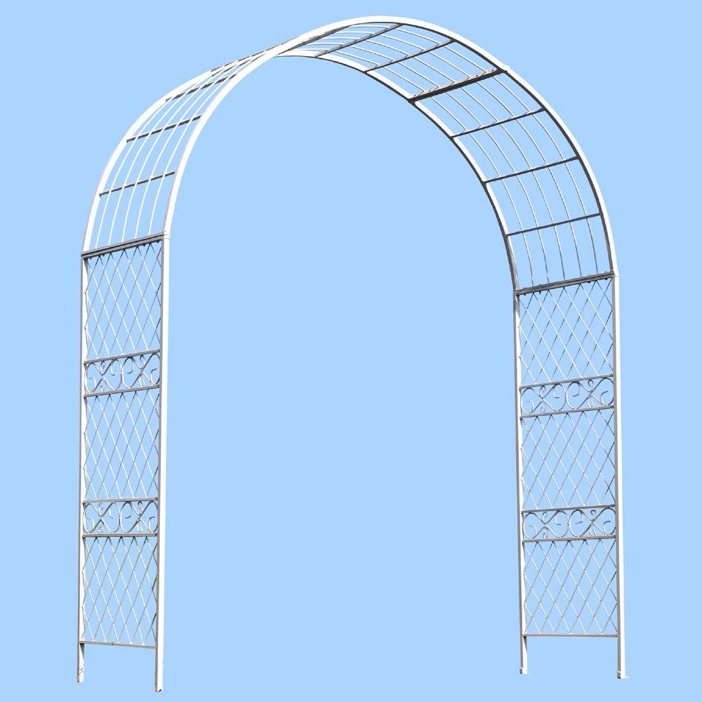 国華園 鉄製イングリッシュアーチ白 1個 幅188×奥行60×高さ230cm パイプ径20mm角 ホワイト 鉄製 アイアン バラアーチ B01HR3INL0