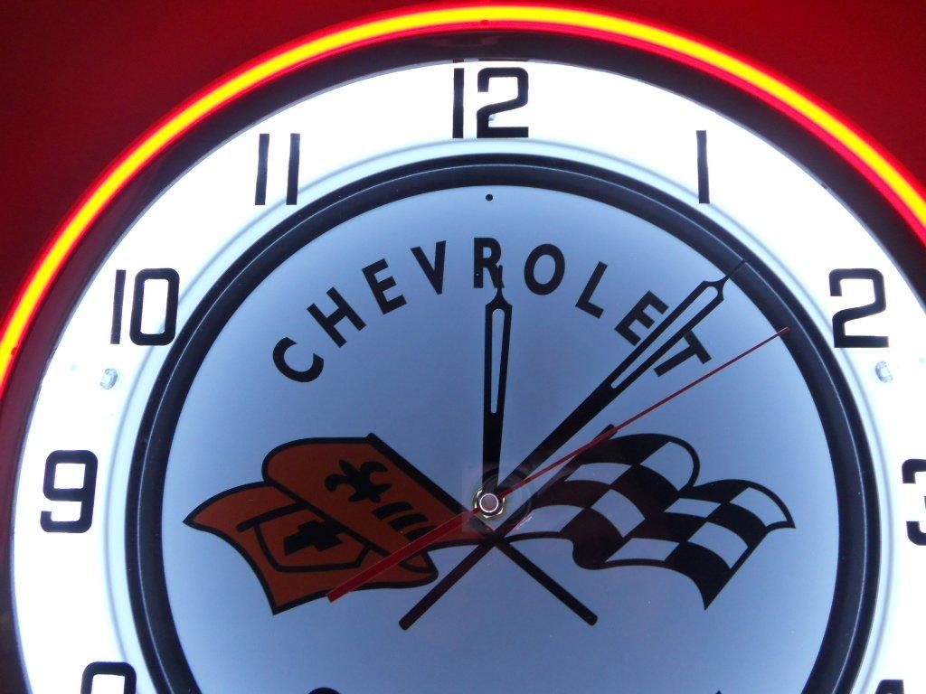 Chevy Corvette 18'' Double Neon Clock Service Parts Dealer Garage Logo Emblem Sign Stingray by POPmart