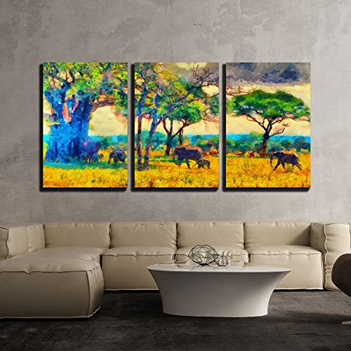 """Wall26 - 3 Piece Canvas Wall Art - Colorful Impressionist African Landscape with Elephants Oil Painting - Modern Home Decor Stretched and Framed Ready to Hang - 24\""""x36\""""x3 Panels"""