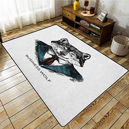 Large Area Rug,Wolf,Business Animal in Suit with Jacket Shirt and Tie Sketch Style Hipster Print,Rustic Home Decor Teal Vermilion Black]()