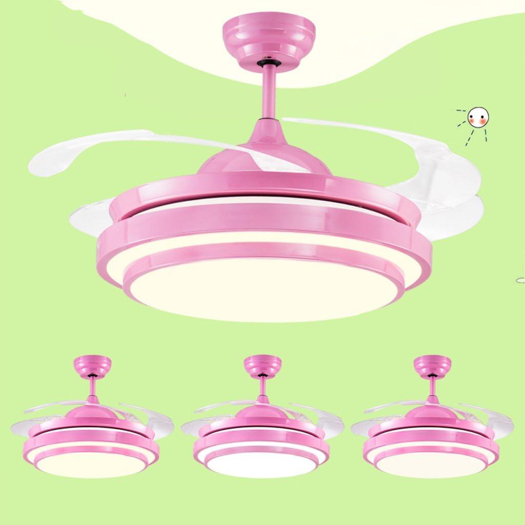 Lámparas de araña de la araña de habitación de los niños de lo moderno, lámpara ventilador, fuente de luz LED de control remoto aspa del ventilador ABS arte princesa lámpara de techo de la habitación