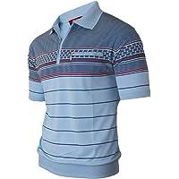 Soltice - Polo de manga corta para hombre, a rayas, camiseta con bolsillo en el pecho, camisetas de mezcla de algodón (M…