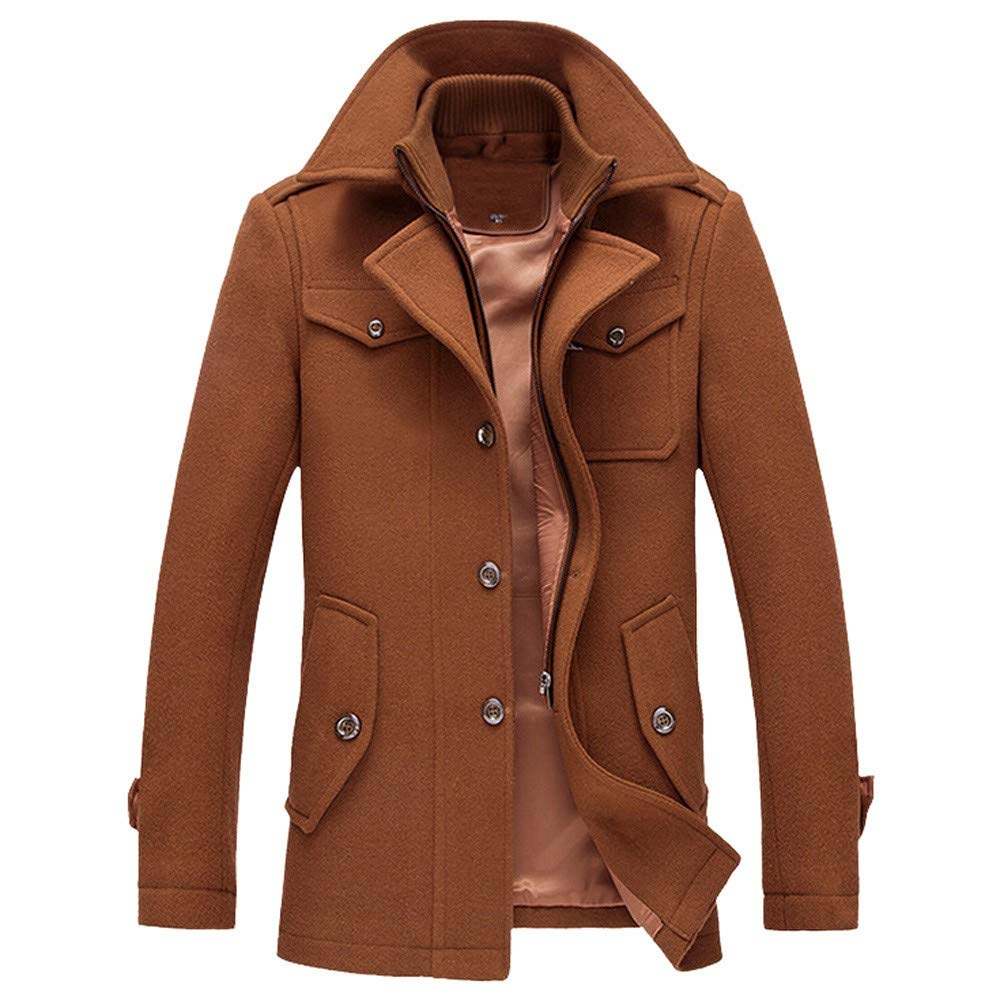 Men's Coats Men Winter Warm Overcoat Slim Long Trench Buttons Coat,Outdoor Coat Ennglun