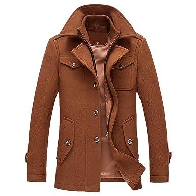Hombre Delgado Caliente del Invierno Abrigo De Lana Slim Elegante Chaquetas Cazadora Ropa Trench Coat Solapa Chaquetones Slim Fit Negocios Denim Jacket Coat ...