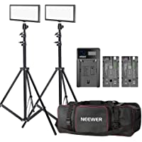 Neewer 2-pack T120 On-camera LED Video Light with Lighting Kit:(2)Bi-color Dimmable LED Panel, (2)190cm Light Stand, (2…