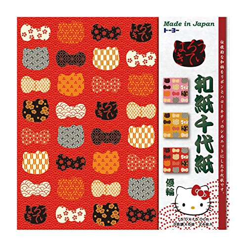 [해외]ト?ヨ? 헬로 키티 화지 기 수 공용 색종이로 15 × 15cm 유 륜 ゆうわ 033801 / Toyo Hello Kitty Washi Yuzen Chiyogami 15 × 15cm Yuu Yuwow 033801