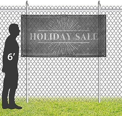 CGSignLab Chalk Burst Wind-Resistant Outdoor Mesh Vinyl Banner Holiday Sale 8x4