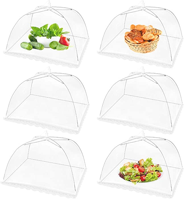 (6 Pack) 17 Inch(L) x17 Inch(W) x8 Inch(H) Pop-Up Mesh Screen Food Cover Tent Umbrella for Outdoor Camping, Picnics, Parties, BBQ, Collapsible and Reusable Food Net Cover