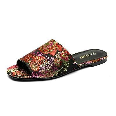Huaishu Motif brodé de mot de chaussures de femmes traînent des sandales plates de pantoufles de mode décontractée