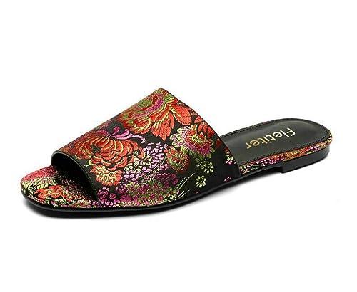Palabra Planas Mujer Bordados Sandalias Arrastrar De Zapatos Moda eQroCBxdW