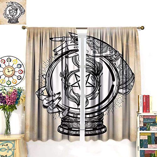Anniutwo Occult Blackout Curtain Illustration of Medium Crystal Ball for Mystery with Tattooed Hands Future Psychic Thermal Insulating Curtain Tan Black W55 x L72 inch