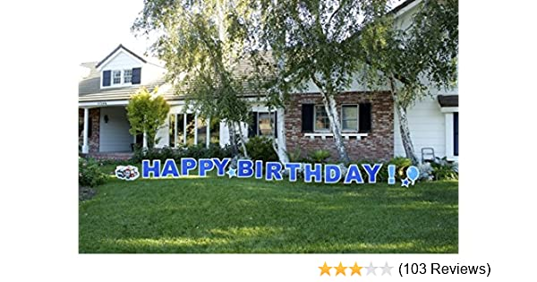 Amazon Yard Card HBDB Happy Birthday Boy Outdoor Announcement Decoration With Stakes Garden