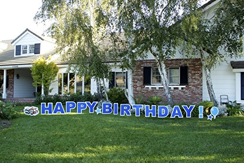Yard Card, HBDB Happy Birthday Boy Outdoor Announcement Decoration Card with Stakes
