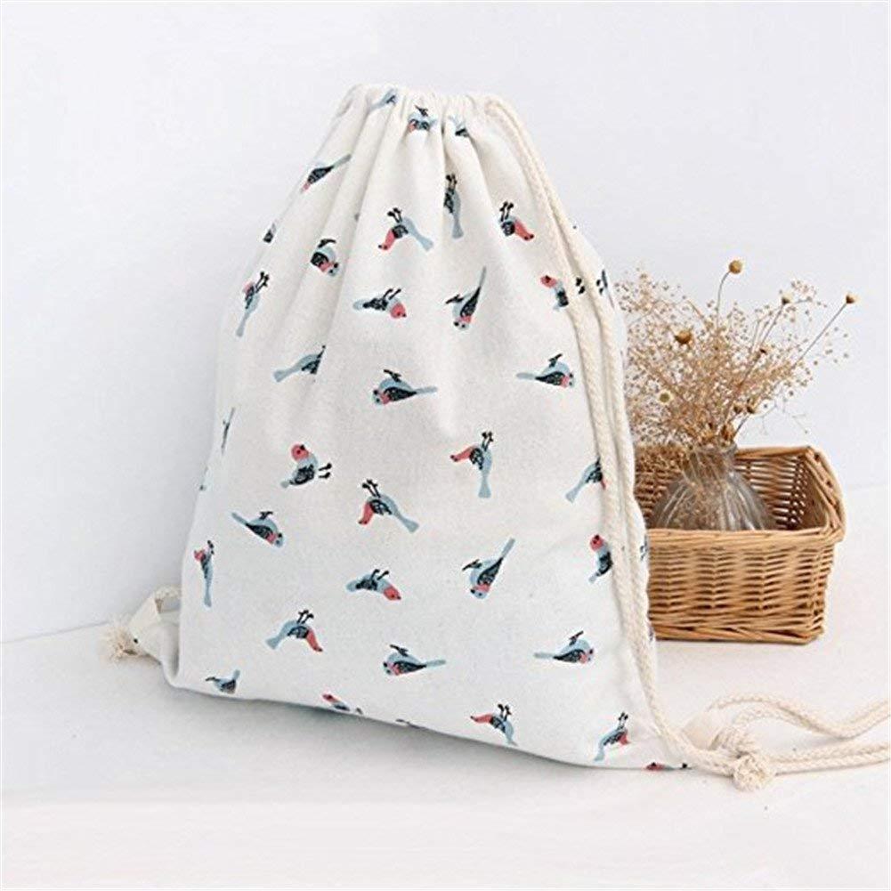 40cm Durable and Useful Yevison Canvas Drawstring Storage Backpack Bag Birds Patterns Gym PE Sports Sack Bags Shoulder Rucksack for Adults Children School//Travel//Swimming Storage 34.5