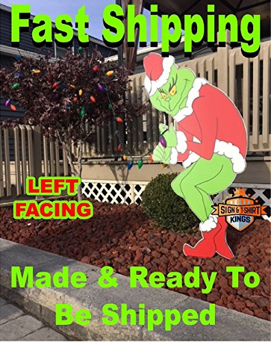 Grinch Stealing Christmas Lights LEFT FACING Yard Art FAST -