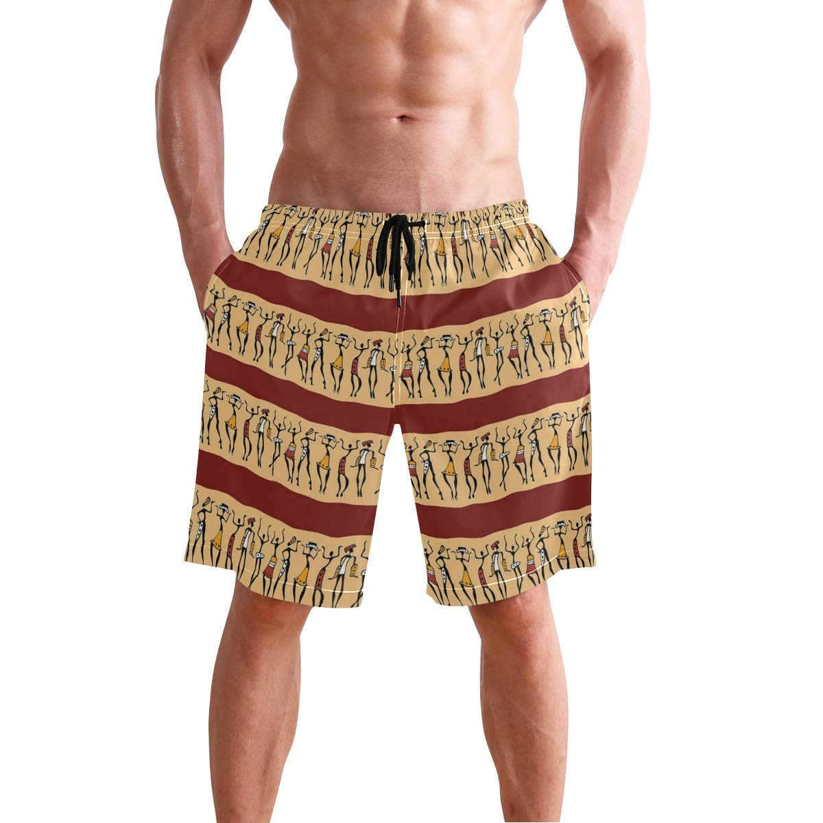 COVASA Mens Summer ShortsNative Australian Animals with Koala Reptiles and Kan