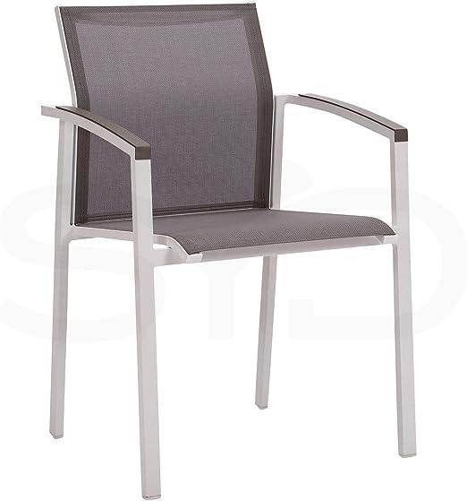 2 Sillas con Brazos Manacor para jardín y Exterior. Aluminio 1ª Calidad Blanco y Textilene Batyline Arce: Amazon.es: Jardín
