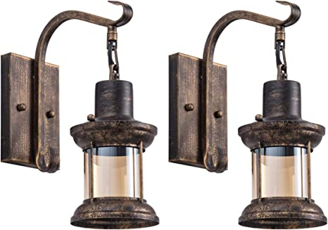 Rustic Light Fixtures Oil Rubbed Bronze Finish Indoor Vintage Wall Light Wall Sconce Industrial Lamp Fixture Glass Shade Farmhouse Metal Sconces Wall