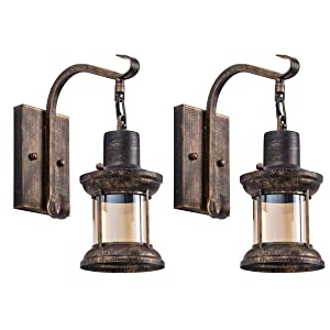 Rustic Indoor Light, Oil Rubbed Bronze Finish Vintage Wall Sconce Fixture Industrial Lamp Glass Shade Decor Lantern Lighting Farmhouse Sconces Metal Lights for House Bedroom Living Room Cafe(2 Pack)