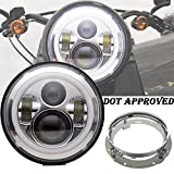 AUSI 7 Inch Round LED Headlight DOT APPROVED Hi/lo Angel Eye Halo DRL Amber Turn Signal 60W CHROME & Mounting Bracket For Harley Davidsion Yamaha Road Star V Star Chief Classic Springfield Motorcycle