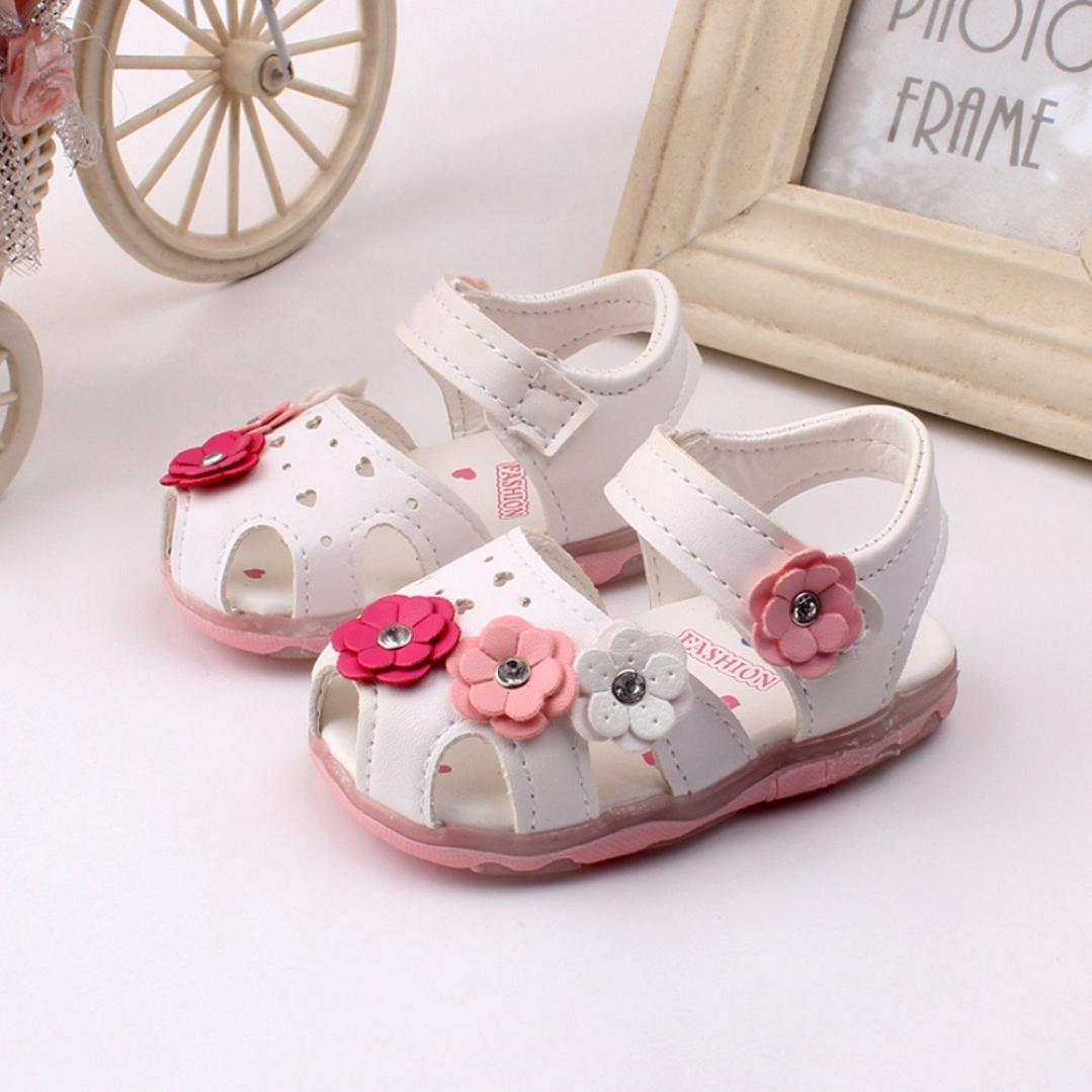 7cc3536329f Btruely Herren⚽ Sandalias para Niña 0-4 Años Niña Sandalias Huecos de Flores  de bebé ...