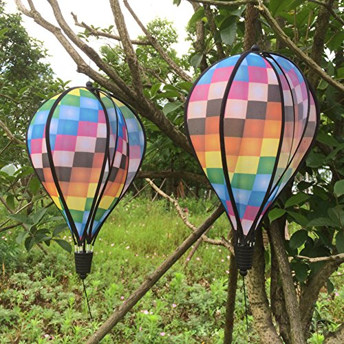 Mimgo Store Grid Windsock Colorful Hot Air Balloon Wind Spinner Garden Yard Outdoor Decor - Wind Balloon