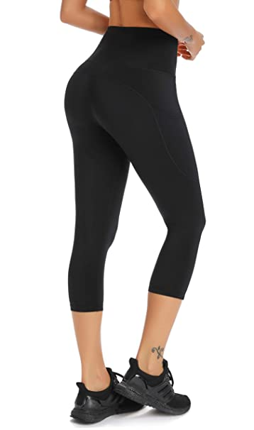 Amazon.com: Olacia Leggings capri de yoga de cintura alta ...