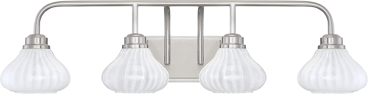 "Savoy House 8-2410-4-322 Darlington Warm Brass 4-Light Bathroom Vanity Light (34"" W x 9\""H)"