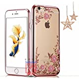iPhone 6/6s - Shockproof Silicone Soft TPU Transparent Auora Flower Case with Sparkle Swarovski Crystals for iPhone 6 & iPhone 6s Back Cover (Rose Gold)
